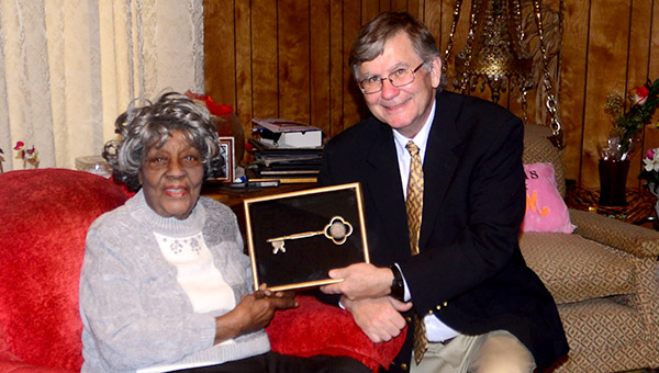 Demopolis Mayor John Laney presents Josephine H. Daniels with a key to the city upon her 105th birthday on Wednesday, Feb. 15.